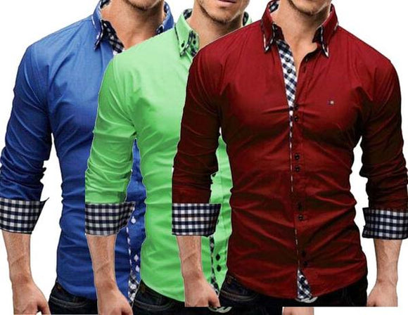 Branded Combo of 3 Lapel Fine Plaid Printed Slim Fit Men's Leisure Shirts