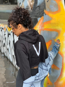 "BLACK MANNE""QUEEN"" -  Bad One Crop Hoodie"