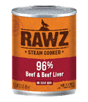 RAWZ 96% Meat Beef and Beef Liver Wet Dog Food, 12.5-oz Cans