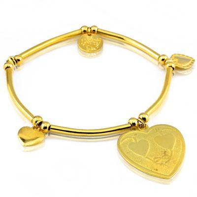 24K GOLD PLATED, CHARM AND BEAD STRECHABLE BRACELET 0.925 STERLING SILVER BRACELET