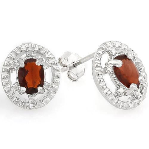 1 2/5 CARAT GARNET   925 STERLING SILVER EARRINGS