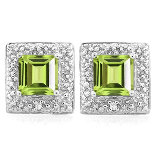 1 1/5 CARAT PERIDOT   925 STERLING SILVER EARRINGS