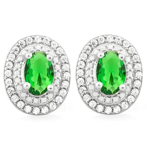 STUNNING 2 CARAT CREATED EMERALD & FLAWLESS CREATED DIAMOND 925 STERLING SILVER EARRINGS