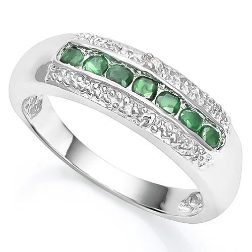 1/4 CT EMERALD & DIAMOND 925 STERLING SILVER RING