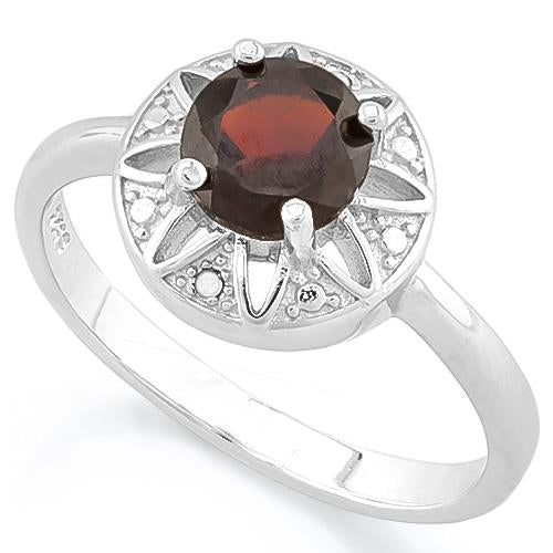 FEMININE ! 1 CARAT GARNET & DIAMOND 925 STERLING SILVER RING