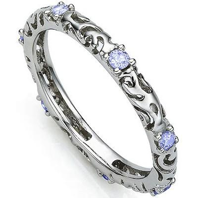 1/5 CT TANZANITE 925 STERLING SILVER RING