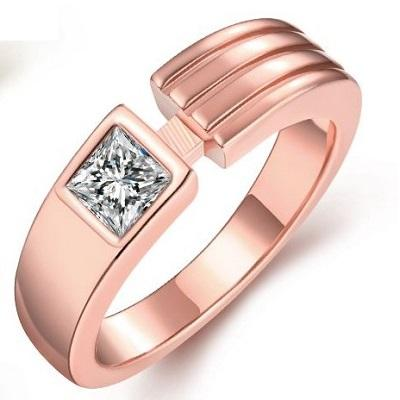 18K ROSE GOLD PLATED GERMAN SILVER AUSTRIA CRYSTAL RING