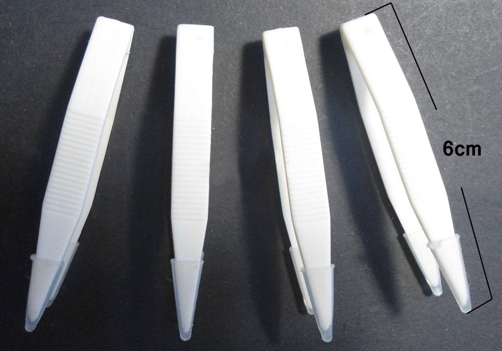 1 Dozen Length:6cm,White contact Lens plastic tweezers,Soft tweezers