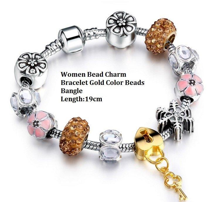 Women Fashion German Silver Bead Charm Bracelet Gold-Color Beads Bangle