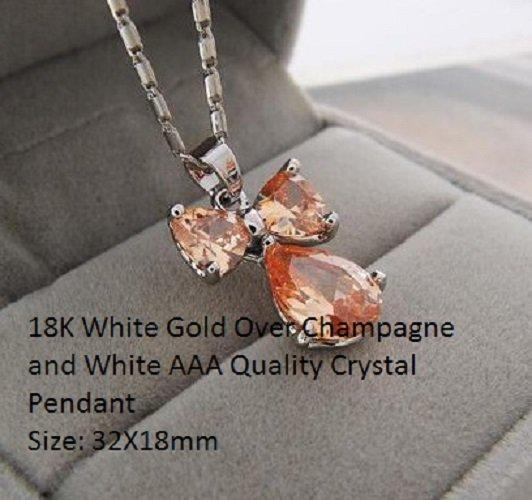18K White Gold- Over Champagne and White AAA Quality Crystal German Silver Pendant