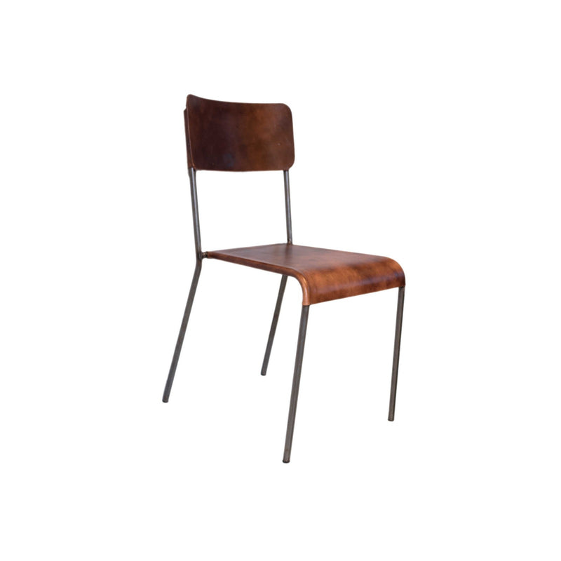 Iron + Leather Cinnamon Chair (Brown)