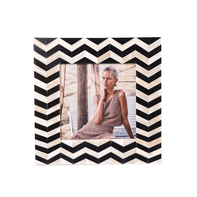 Bone Inlay Zigzag Photo Frame