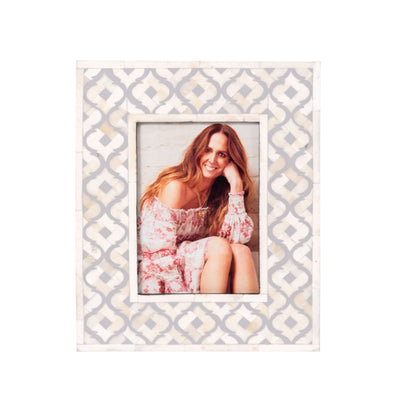Bone Inlay Moroccan Photo Frame (Grey)