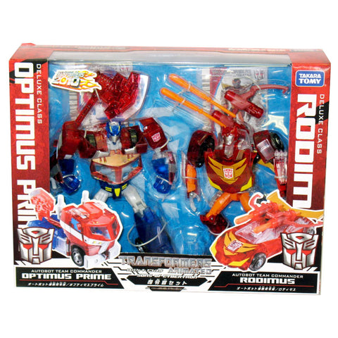 Welcome to Transformers 2010 Clear Animated Sons of Cybertron Giftset Deluxe Optimus Prime & Rodimus packaging MISB