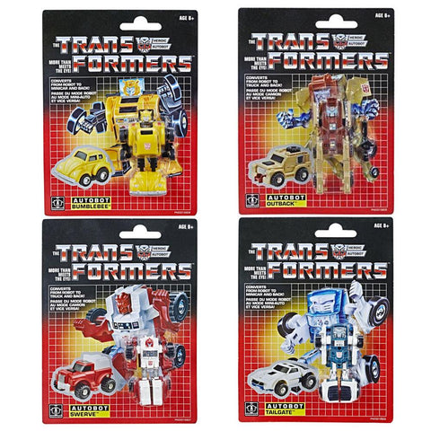 Transformers 2018 Walmart G1 Vintage Reissue bundle of 4 bumblebee outback swerve tailgate package box