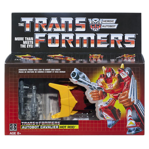 Transformers Vintage G1 reissue Hot Rod Rodimus backwards package box walmart