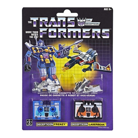 Transformers Generation 1 Vintage Reissue Cassette Casseticon Laserbeak Blue Frenzy G1 box package