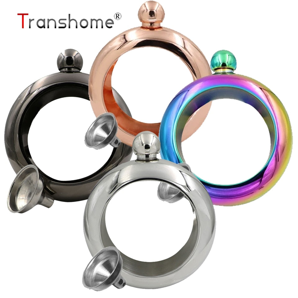 Transhome Bracelet Flask 3.5oz Stainless Steel Hip Flask Ring 100ml Wine Flask For Whiskey with Funnel Bracelet Bottle For Bar