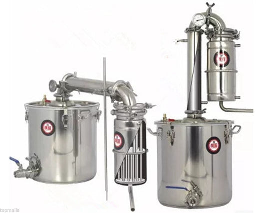 5/8/13/18 Gallon 20/30/50/70L Litres Transformer Wine Maker Brew Alcohol Distiller Household Stainless Steel Moonshine Still