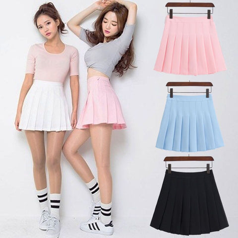 ELEXS Women Fashion Summer high waist pleated skirt Wind Cosplay skirt kawaii Female Mini Skirts Short Under it E1119