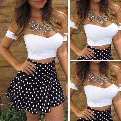 Summer Sexy Women's Off shoulder Bodycon Short Crop Top+Dot Mini Skirt Casual 2 Piece Set