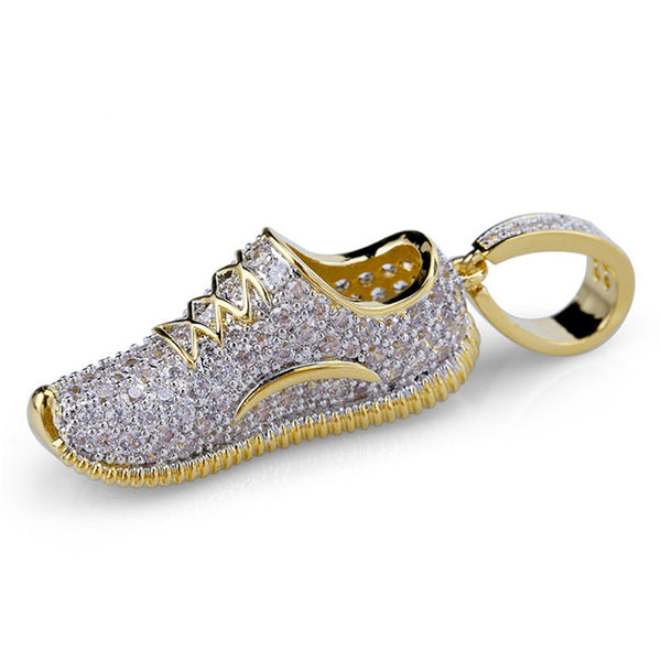 Iced Out Sneakers Shoes Pendant With Gold Chain New Arrival