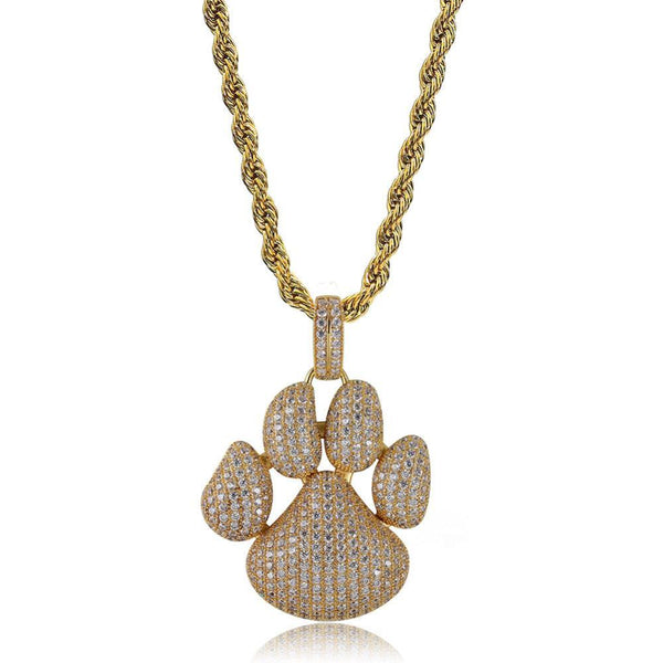 Paw Dog Claw Pendant Iced Out Chain