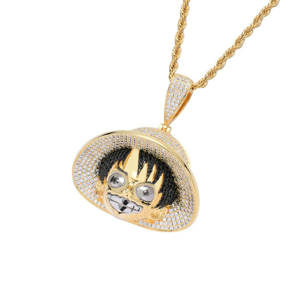 Full AAA CZ Stones Paved Bling Bling Ice Out Cartoon Pendants Necklace