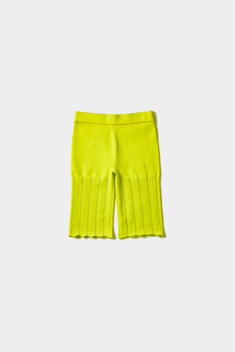 Holey Bike Short in Sprout Yellow