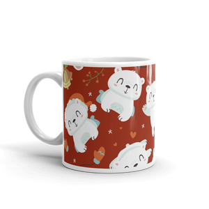 Polar Bear Holiday Red Mug
