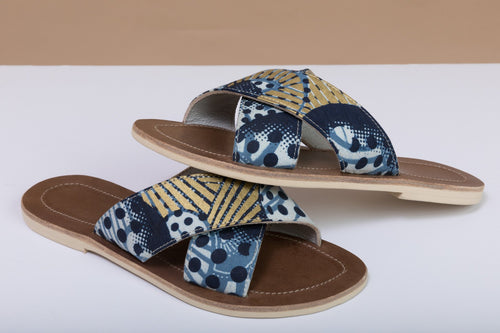 BY M.A.R.Y Shoes Blue and Golden Flowers / 37 Sandals - Blue and Golden Flowers