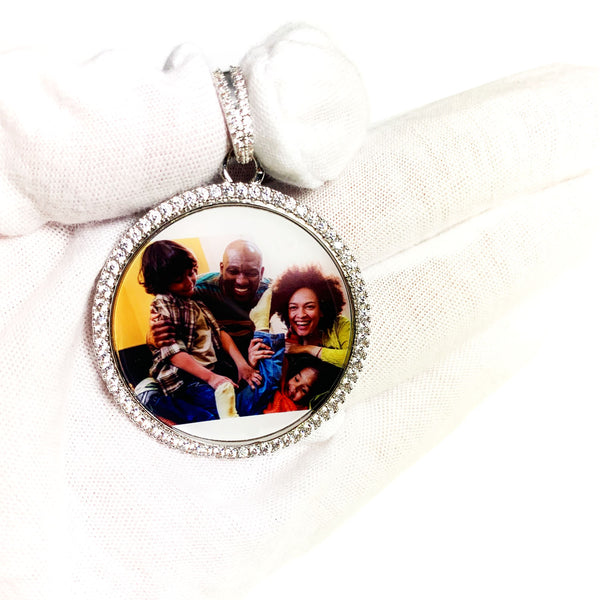 Personalized Photo engraved Pendant Necklace with rhinestone