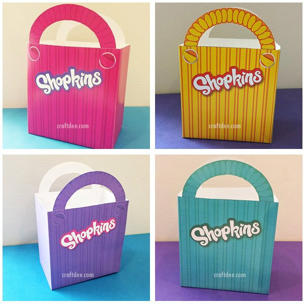 "4 - 6.75"" Printable Shopkins Shopping Bags - Shopkins Birthday Party"