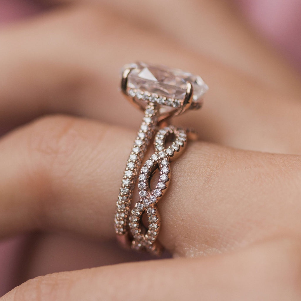 SERAPHINA Infinity Twist Moissanite Eternity Wedding or Stacking Band in 14K Rose Gold