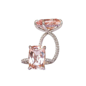 ROWAN 8 Carat Elongated Cushion Morganite Engagement Ring with Pink Sapphire Invisible Halo in 14K White Gold With Dainty Band