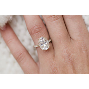 LEIGHTON 5.4 Carat (12x9.5mm) Antique Oval Moissanite Pave Engagement Ring with Invisible Halo in 14K Yellow Gold