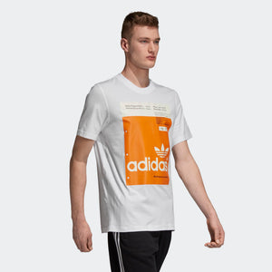Mens Adidas Originals Pantone Tee Shirt In White Orange