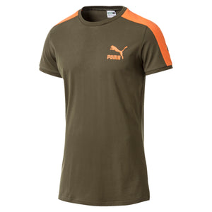 Mens Puma Classic T7 Muscle Fit Tee Shirt In Green Orange
