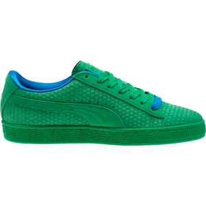 Mens Puma Suede Classic Archive All Over Sneaker In Kelly Green Team Gold