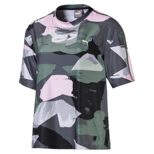 Womens Puma Chase Tee All Over Shirt In Grey Pink