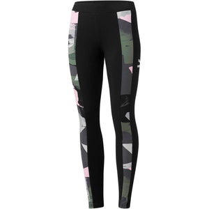 Womens Puma Classic T7 All Over Print Tights Leggings In Black Pink Green