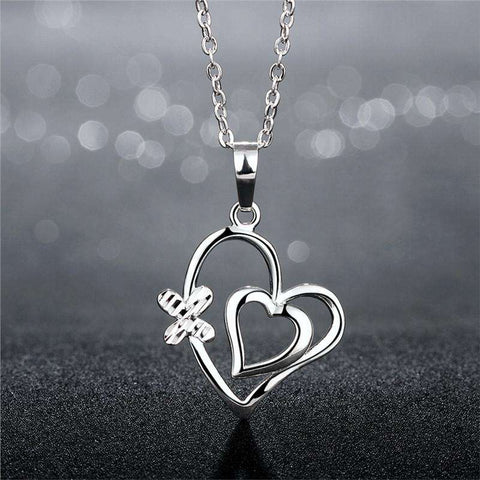Silver Double Heart Necklace Heart Pendant Necklace