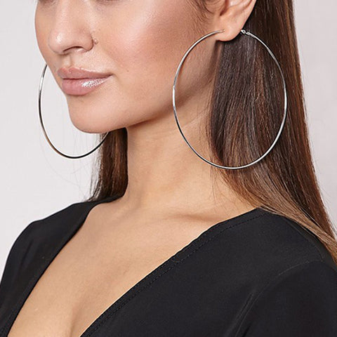 Beautiful Hoop Big Smooth Circle Earrings