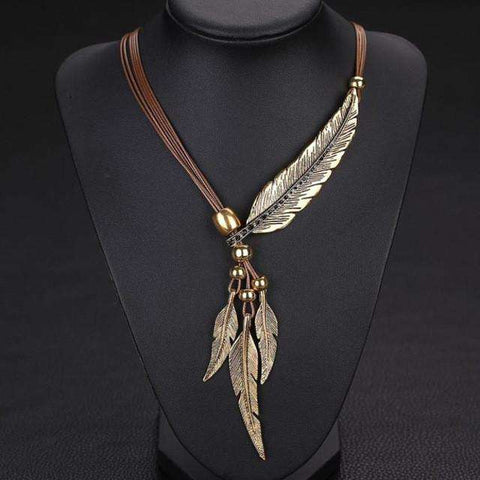 Alloy Feather Antique Vintage Time Necklace