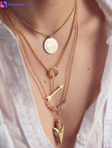 Multi-layered Irregular Crystal Gold Pendant Chain Statement Necklace