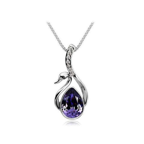 Silver Plated Crystal Swan Pendant Necklace