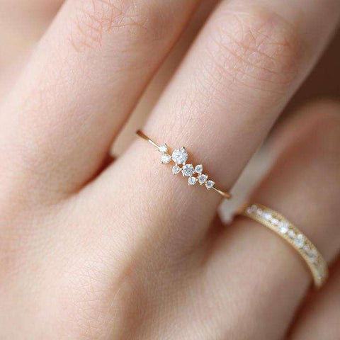 3 Diamonds Ring Zirconia Simple Rings for Women