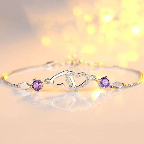 Heart Shaped Purple/White Charming Bracelet (Sterling Silver)