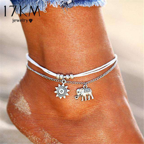Vintage Star Pendent Anklets Double Layered