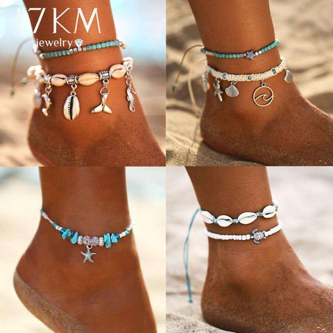 Pendant Anklets For Women New Stone Beads Shell Anklets
